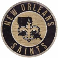 """New Orleans Saints 12"""" Circle with State Sign"""