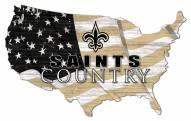 "New Orleans Saints 15"" USA Flag Cutout Sign"