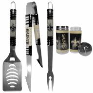 New Orleans Saints 3 Piece Tailgater BBQ Set and Salt and Pepper Shaker Set