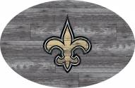 """New Orleans Saints 46"""" Distressed Wood Oval Sign"""