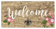 """New Orleans Saints 6"""" x 12"""" Floral Welcome Sign"""