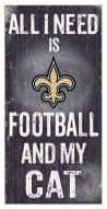 "New Orleans Saints 6"" x 12"" Football & My Cat Sign"