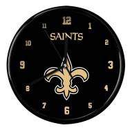 New Orleans Saints Black Rim Clock