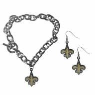 New Orleans Saints Chain Bracelet & Dangle Earring Set