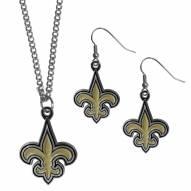 New Orleans Saints Dangle Earrings & Chain Necklace Set