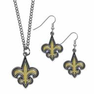 New Orleans Saints Dangle Earrings & Chain Necklace Set