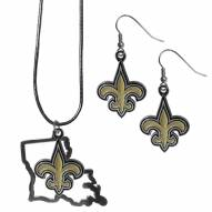 New Orleans Saints Dangle Earrings & State Necklace Set