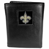 New Orleans Saints Deluxe Leather Tri-fold Wallet in Gift Box