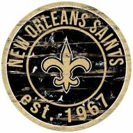 New Orleans Saints Distressed Round Sign