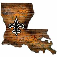 New Orleans Saints Distressed State with Logo Sign