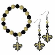 New Orleans Saints Fan Bead Earrings & Bracelet Set