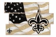 New Orleans Saints Flag 3 Plank Sign