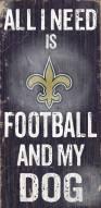 New Orleans Saints Football & Dog Wood Sign