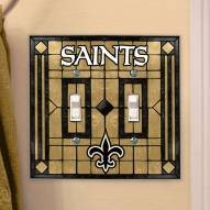 New Orleans Saints Glass Double Switch Plate Cover