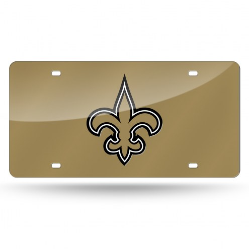 New Orleans Saints Gold Laser Cut License Plate