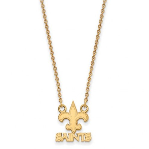 New Orleans Saints Sterling Silver Gold Plated Small Pendant with Necklace