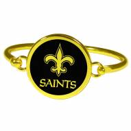 New Orleans Saints Gold Tone Bangle Bracelet