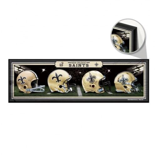 New Orleans Saints Helmets Wood Sign