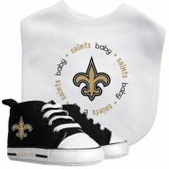 New Orleans Saints Infant Bib & Shoes Gift Set
