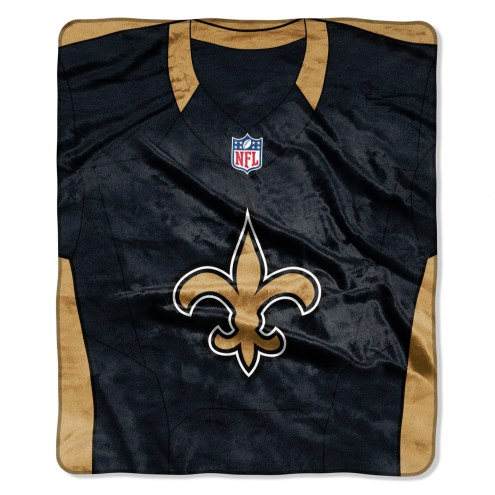 New Orleans Saints Jersey Raschel Throw Blanket