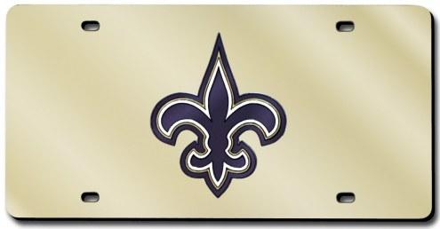 New Orleans Saints Laser Cut Gold License Plate