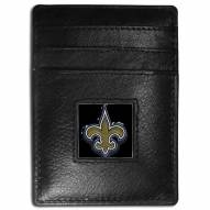 New Orleans Saints Leather Money Clip/Cardholder in Gift Box