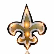 New Orleans Saints Logo Lighted Recycled Metal Sign