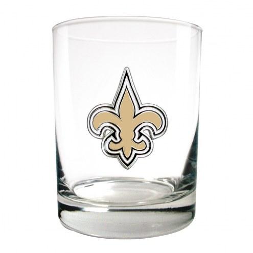 New Orleans Saints Logo Rocks Glass - Set of 2