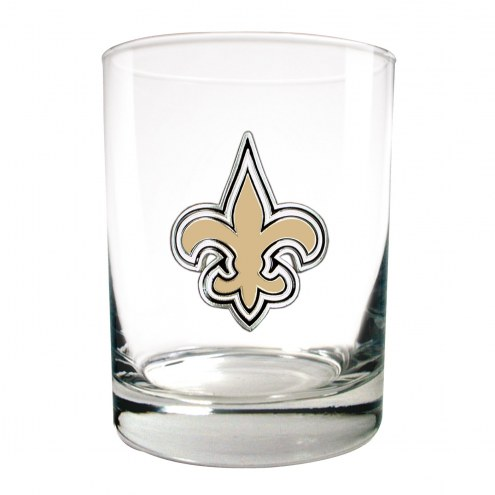 New Orleans Saints Logo Rocks Glass - Set of 2