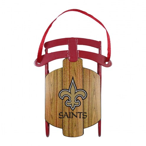 New Orleans Saints Metal Sled Tree Ornament