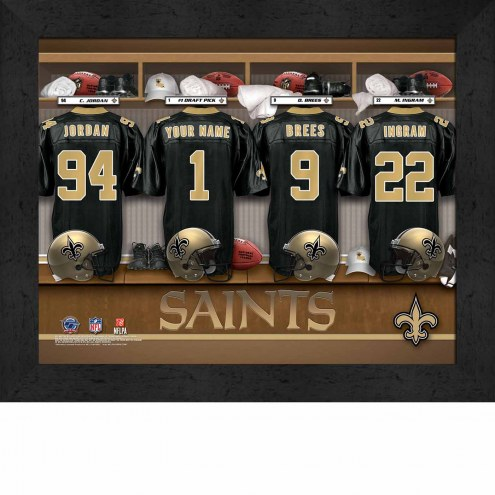 New Orleans Saints NFL Personalized Locker Room 11 x 14 Framed Photograph