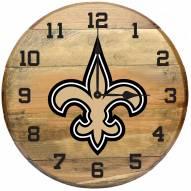 New Orleans Saints Oak Barrel Clock