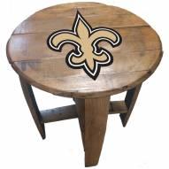 New Orleans Saints Oak Barrel Table
