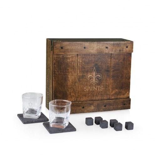 New Orleans Saints Oak Whiskey Box Gift Set