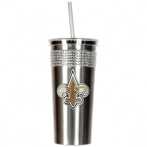 New Orleans Saints Stainless Steel Bling Tumbler with Straw