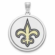 New Orleans Saints Sterling Silver Disc Pendant