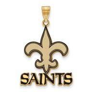 New Orleans Saints Sterling Silver Gold Plated Large Enameled Pendant