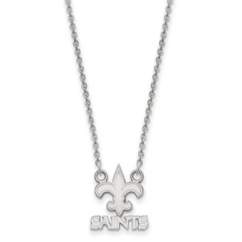New Orleans Saints Sterling Silver Small Pendant with Necklace