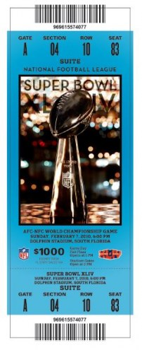 New Orleans Saints Super Bowl Mini Mega Ticket