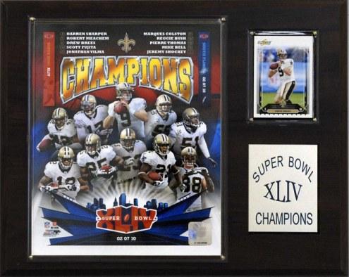 """New Orleans Saints 12"""" x 15"""" Super Bowl XLIV Champions Plaque"""