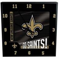 New Orleans Saints Team Black Square Clock