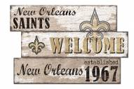 New Orleans Saints Welcome 3 Plank Sign