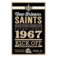 New Orleans Saints Established Wood Sign