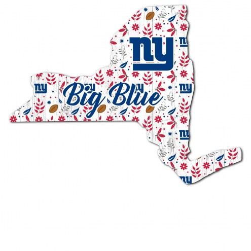"""New York Giants 12"""" Floral State Sign"""