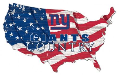 """New York Giants 15"""" USA Flag Cutout Sign"""