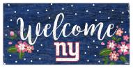 """New York Giants 6"""" x 12"""" Floral Welcome Sign"""