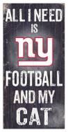 "New York Giants 6"" x 12"" Football & My Cat Sign"