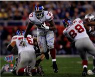 """New York Giants Brandon Jacobs Running Through the Patriots Line Signed 16"""" x 20"""" Photo"""