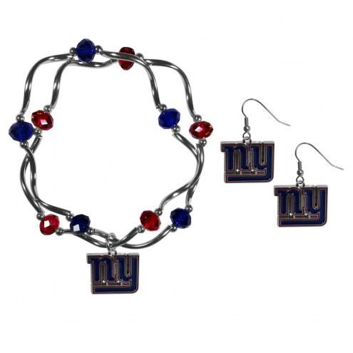 New York Giants Dangle Earrings & Crystal Bead Bracelet Set