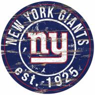 New York Giants Distressed Round Sign